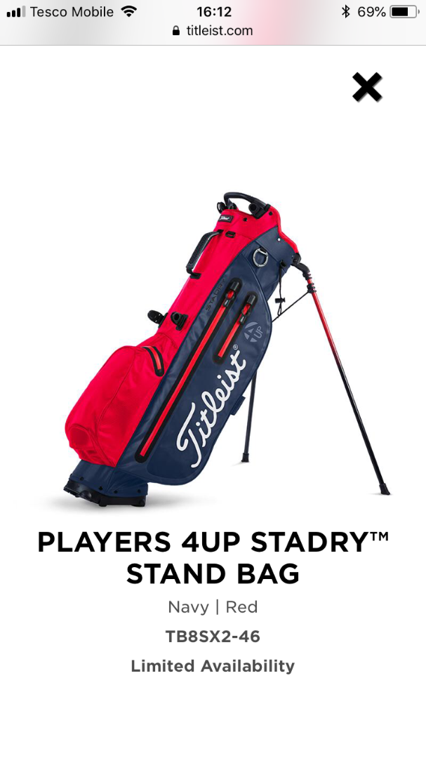 players 4up stadry stand bag red navy golf gear team titleist