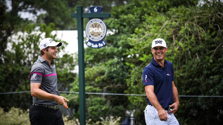 It's all smiles from Uihlein and Horschel as the...