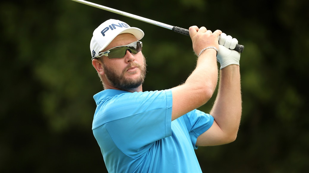 Ockie Strydom watches his Titleist Pro V1 golf ball fly towards the greenduring his winning performance at the 2019 Vodacom Origins of Golf - Sishen event