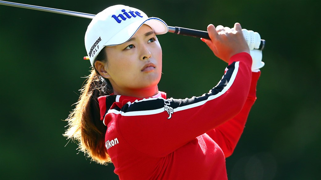 Jin Young Ko watches her Pro V1 golf ball fly toward the flagstick during action at the CP Women's Open
