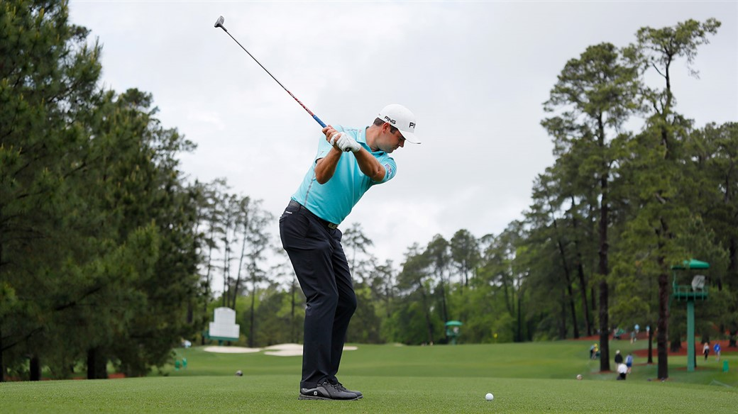 Corey Conners tees off during a practice round on Tuesday at the 2019 Masters