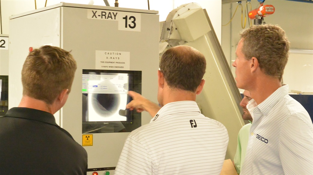 Photo from Titleist Ball Plant 3 of X-ray analysis stage in the process to manufacture Titleist golf balls.